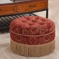 Vienna 24in Jacquard Decorative Round Ottoman