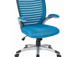 Mesh Seat and Screen Back Managers Chair with Padded Silver Arms and Nylon Base  Multiple Colors