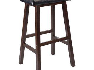 Winsome Wood Mona 29in Cushion Seat Saddle Stool  RTA  Black  amp  Walnut
