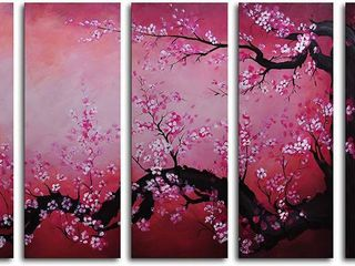 Hand painted Cochineal Black Trunked Cherry Tree 5 Piece Canvas