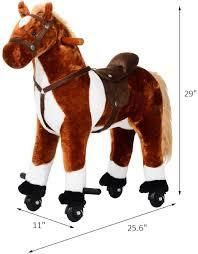 Kids Plush Ride On Toy Walking Horse with Casters