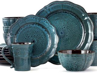Elama lavish Blue 16 Piece Round Stoneware Dinnerware Set   Service for 4  RETAIl  79 99