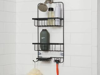 Bathroom lot  Bathroom Shower Caddy   S Hook Shower Curtain Rings   Both are Matte Black   Made By Design  RETAIl  26 00
