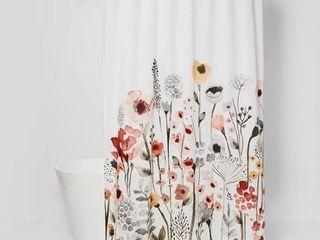 Floral Wave Shower Curtain White   Threshold  RETAIl  20 00