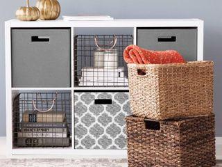 lOT OF 3 Fabric Cube Storage Bin  13    Threshold  RETAIl  30 00
