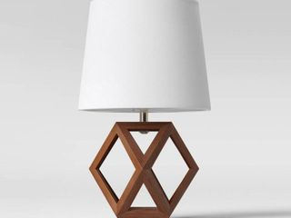 PAIR  Geometric Wood Figural Accent lamp Brown W  Toile Stitch lamp Shade   Threshold  RETAIl  100 00