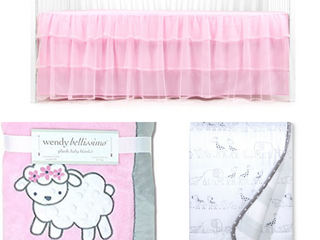 Wendy Bellissimo Elodie Sheep  So Sweet  Plush Baby Blanket   Jersey Knit Reversible Blanket Two by Two   Cloud Island   Tadpoles Tulle Crib Skirt   Pink  RETAIl  69 97