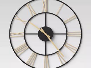 Decorative Wall Clock   Gold Black   Threshold  RETAIl  30 00