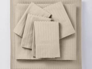 400 Thread Count Damask Solid Sheet Set   Threshold Signature  California King  Natural  RETAIl  85 99