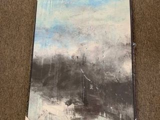 Framed Abstract Canvas   Blue Black