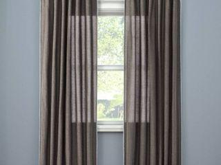 SET OF 2  Stitched Edge light Filtering Curtain Panel   Threshold  Dark Gray  54 x95   RETAIl  61 98