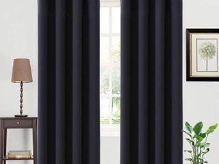 SET OF 2  Natural Solid light filtering Curtain Panel   Threshold  Black  84   RETAIl  39 98