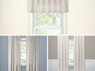 lOT OF 3 Threshold Curtains  95  Edalene Blackout Curtain Panel   Almond Cream  15 x54  Window Valance Beige   84  Honeycomb Woven light Filtering Curtain Panel   Gray  RETAIl  62 99