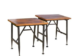 Ocala Acacia Industrial Side Table   Antique Black   Christopher Knight Home   MATCHES lOT 73307  RETAIl  49 49