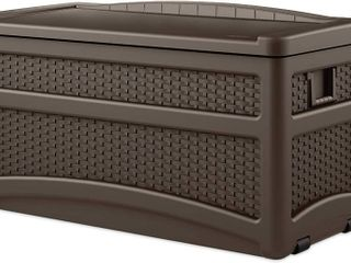 Suncast 73 Gallon Resin Wicker Patio Storage Box with Wheels and Seat   Water Resistant Outdoor Storage Container for Furniture and Yard Tools  RETAIl  104 99