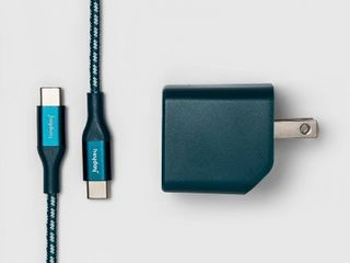 heyday 2 Port USB A   USB C Wall Charger  with 6  USB C to USB C Braided Cable    Matte Ocean Teal  RETAIl  29 99