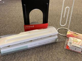 Office lOT  Swingline Desktop 3 Hole Punch White Gold   Sugar Paper  Pair Metal Bookends  Paper Clip Note Holder   3M Command Strips  RETAIl  34 47