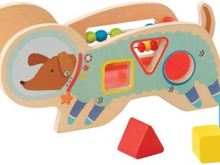 Manhattan Toy Space Dog Wood Shape Sorter with Springy Tail   Bead Run  RETAIl  31 99
