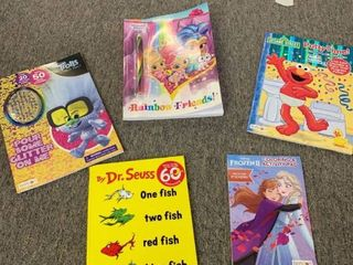 5 Book lOT  4 Coloring   Activity Books  Trolls  Frozen  Elmo Potty Time  Rainbow Friends    One Fish Two Fish Red Fish Blue Fish  RETAIl  25 00