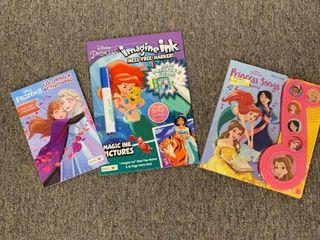 3 Book lOT  Princess Songs Push Button Sound Board Book  Disney Princess Imagine Ink   Frozen II Coloring   Activity Book  25 00