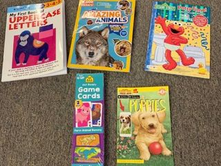 5 Book lOT  My First Book of Uppercase letters  Amazing Animals  Potty Time with Elmo  Puppies   2 Pack Pre K Kinder Card Games  RETAIl  30