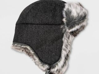 KIDS COlD WEATHER lOT  Herringbone Trapper Hat   Cat   Jack Gray One Size   Onyx Flip Top Gloves   All in Motion Black   Bonus Pair Gloves  RETAIl  25