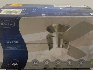 Mazon 44 in Brushed Nickel Flush Mount Indoor Ceiling Fan