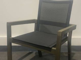 Outdoor wooden chair with mesh seat