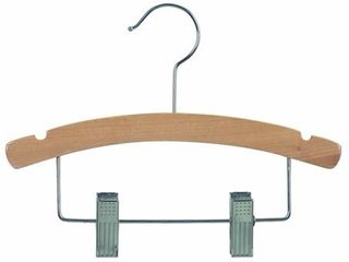 Wooden Kids Combo Hanger with Adjustable Cushion Clips  12 Inch Hangers with Natural Finish   Chrome Swivel Hook  12 hangers