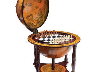 Kassel 13  Diameter Globe with 57pc Chess and Checkers Set Retail 121 49