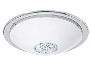 Eglo Giolina Chrome lED Flush Mount with White  Clear Glass  Crystals Shade Retail 79 48