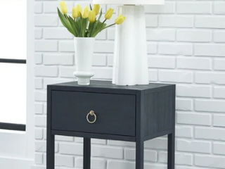 Midnight Wire Brushed Denim 1 shelf Accent Table Retail 188 49