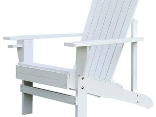 Outsunny Outdoor Classic Wooden Adirondack Deck lounge Chair with Ergonomic Design   a Built In Cup Holder Retail 88 49