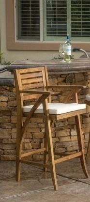Hermosa Outdoor Acacia Wood Barstool with Cushion by Christopher Knight Home Retail 140