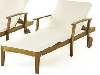 Perla Acacia Wood Chaise lounge by Christopher Knight Home