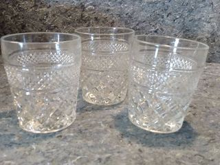 3 large Wexford Crystal Drinking Glasses