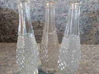 3 Wexford Crystal Oil Decanters