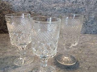 3 large Wexford Crystal Goblets