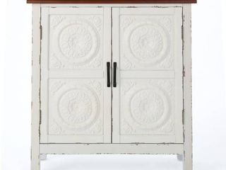 white   Brown Alana Farmhouse Distressed Firwood Cabinet with Carved Panels Retail  219 99