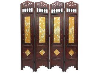 Vintage Gold leaves Wood 6 foot Tall Room Divider Screen Vintage Gold leaves 6  Tall Wood Divider Screen Retail  232 49