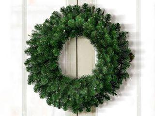 Artificial Wreath   2 Foot 30 Pre lit Deluxe Belgium Wreath  70 Clear lights Natural Green
