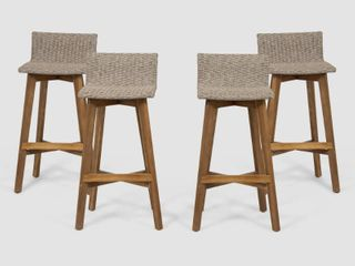 light Brown Teak Finish la Brea Outdoor Acacia Wood and Wicker Barstools  Set of 2  by Christopher Knight Home Retail  274 49