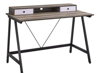 Drawers Includes Hardware   Rectangular   Hutch Desk Writing Desks   Residential   Powder Coated Reclaimed   MDF   Assembly Required   Black   Transitional Modern   Contemporary   Medium   Metal  Retail 163 49