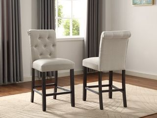 leviton Solid Wood Tufted Asons Counter Height Dining Chair in Tan  Set of 2