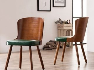 Corvus Calvados Mid Century Modern Bamboo Dining Chairs  Set of 2  Retail 221 99