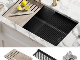KRAUS Bellucci Black Granite Composite 32 in  Single Bowl Undermount Workstation Kitchen Sink with Accessories  Metallic Black