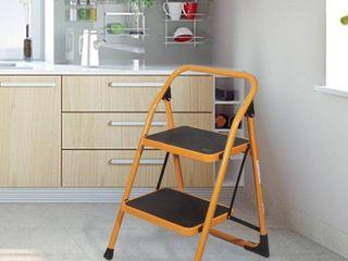 Anti Slip 2 Step ladder Folding Step Stool 330lbs Max Capacity Yellow