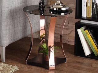 Black Rose Gold Furniture of America Hola Contemporary Black Glass Top Round End Table Retail  139 99