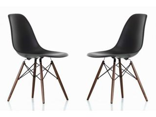 Set of 2 Black Contemporary Retro Molded Black Accent Shell Dining Chair  Set of 2  Retail  149 99