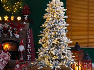 Glitzhome Snow Flocked Pre lit Fir Christmas Tree  Retail 284 49